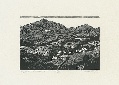 "Anna Hogan wood engraving, titled ""From the Lookout"" on this print, ""View from the Highway"" on her block"
