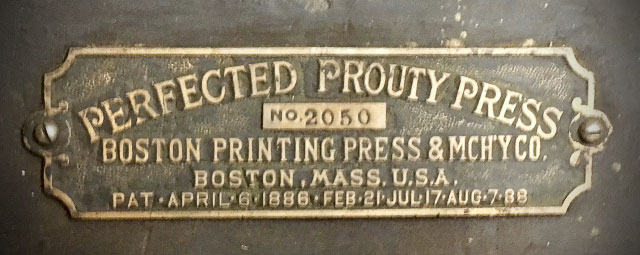 Prouty press nameplate