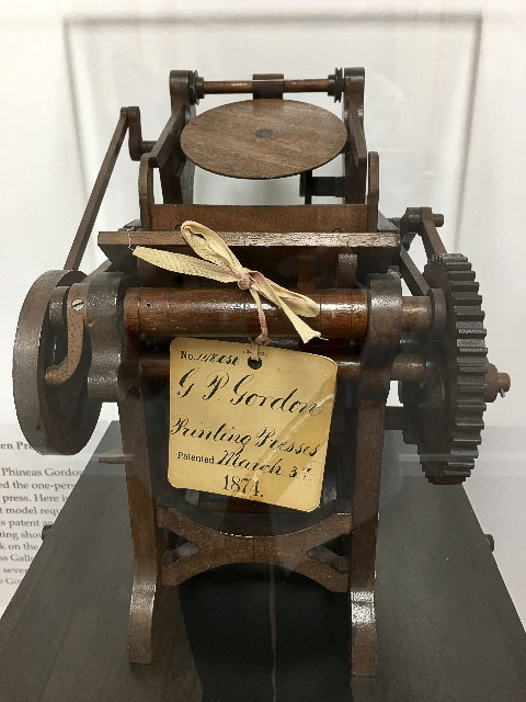 Wood Patent Model of George Phineas Gordon's Platen Job Press