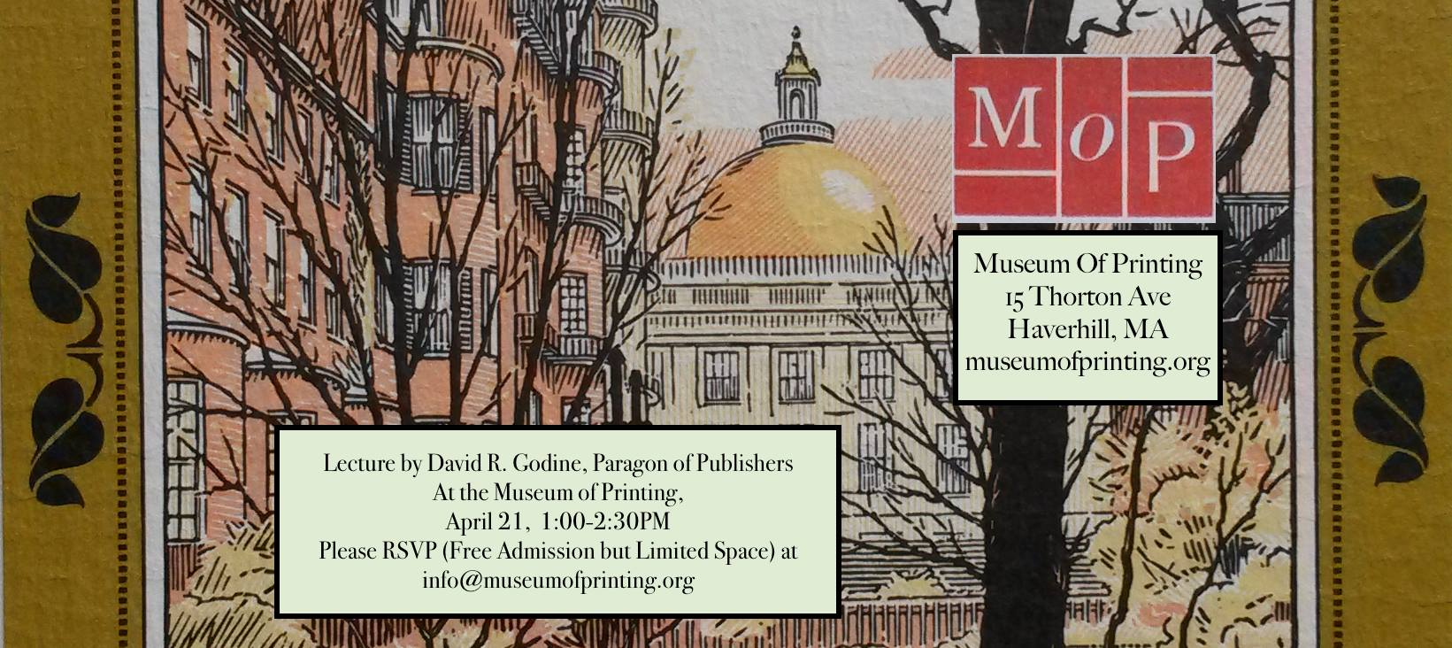 David Godine lecture at the Museum of Printing 4-21-18